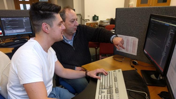 Degree-level apprentice Josh Douce with mentor John Stovin